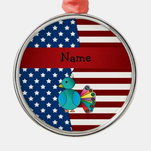 Personalized name patriotic peacock round metal christmas