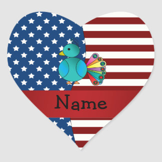 Personalized name Patriotic peacock Sticker