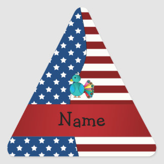 Personalized name Patriotic peacock Triangle Sticker