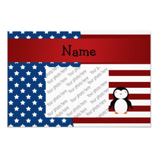 Personalized name Patriotic penguin Photo Print
