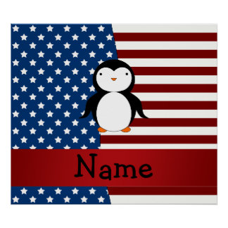 Personalized name Patriotic penguin Posters
