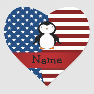 Personalized name Patriotic penguin Heart Sticker