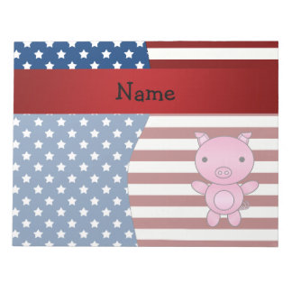 Personalized name Patriotic pig Notepad