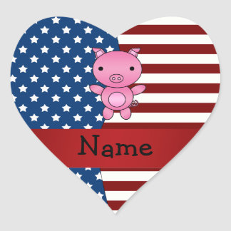 Personalized name Patriotic pig Heart Sticker