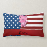 Personalized name Patriotic pig Throw Pillow