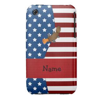 Personalized name Patriotic platypus iPhone 3 Case