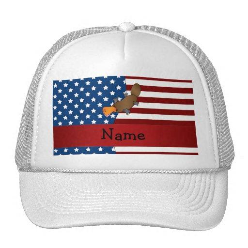 Personalized name Patriotic platypus Mesh Hats