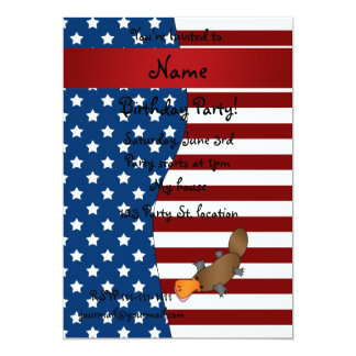 Personalized name Patriotic platypus Cards