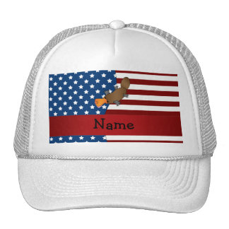 Personalized name Patriotic platypus Mesh Hats