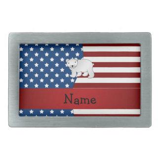 Personalized name Patriotic polar bear Belt Buckles