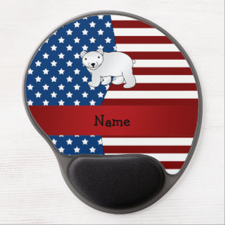 Personalized name Patriotic polar bear Gel Mouse Pad