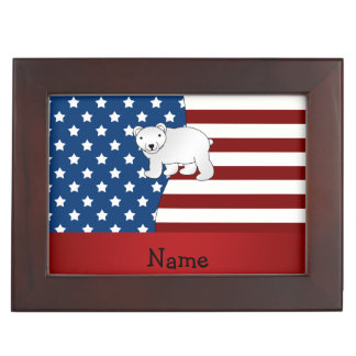Personalized name Patriotic polar bear Keepsake Box