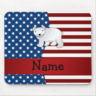 Personalized name Patriotic polar bear Mouse Pads