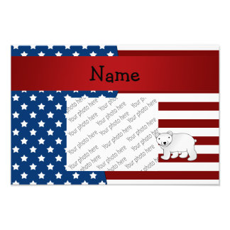 Personalized name Patriotic polar bear Photo Print