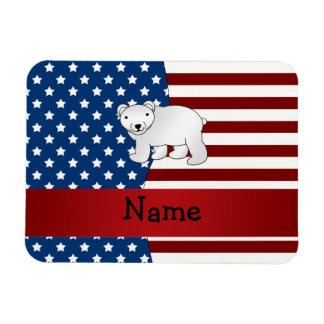 Personalized name Patriotic polar bear Rectangular Photo Magnet