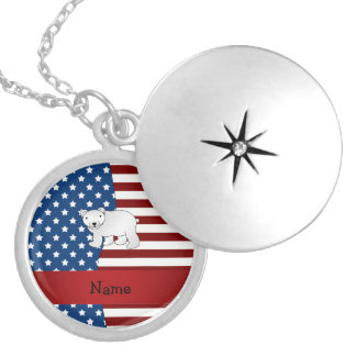 Personalized name Patriotic polar bear Round Locket Necklace