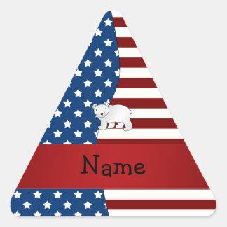 Personalized name Patriotic polar bear Triangle Sticker