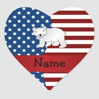 Personalized name Patriotic polar bear Heart Stickers