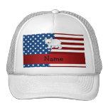Personalized name Patriotic polar bear Trucker Hat