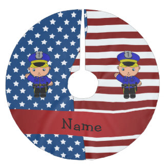 Personalized name Patriotic policeman Brushed Polyester Tree Skirt