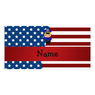 Personalized name Patriotic policeman Photo Card