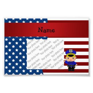 Personalized name Patriotic policeman Photo Print