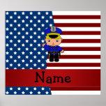 Personalized name Patriotic policeman Posters