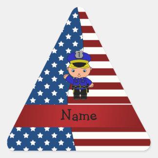 Personalized name Patriotic policeman Triangle Sticker