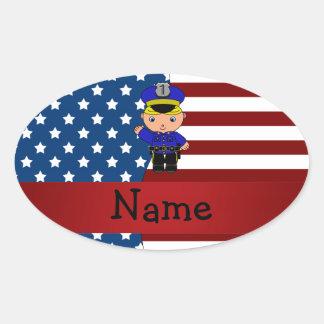 Personalized name Patriotic policeman Oval Sticker