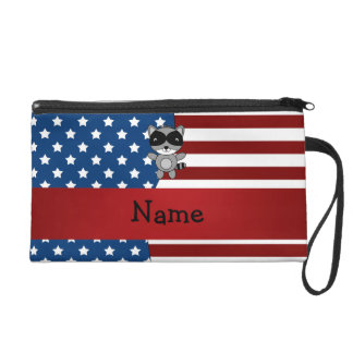 Personalized name Patriotic raccoon Wristlet Purses