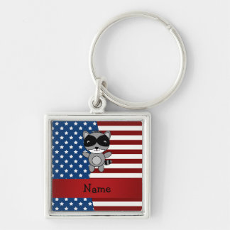 Personalized name Patriotic raccoon Key Chain