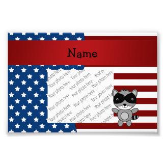 Personalized name Patriotic raccoon Photo Print