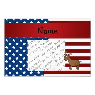 Personalized name Patriotic reindeer Photo Print