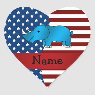 Personalized name Patriotic rhino Heart Stickers