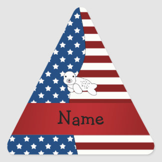 Personalized name Patriotic seal Triangle Sticker