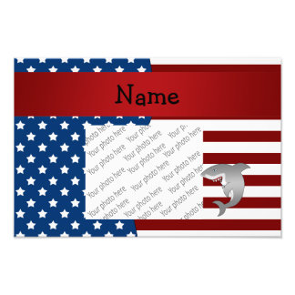 Personalized name Patriotic shark Photo Print
