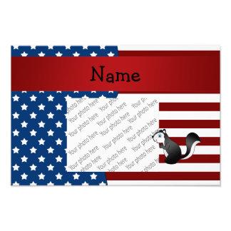 Personalized name Patriotic skunk Photo Print