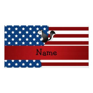 Personalized name Patriotic skunk Photo Cards