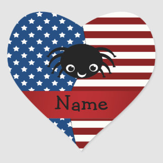 Personalized name Patriotic spider Heart Stickers