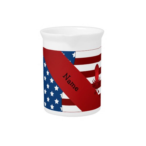 Personalized name Patriotic squid Drink Pitcher
