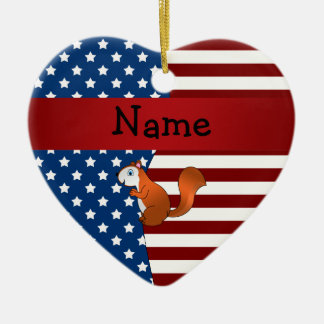 Personalized name Patriotic squirrel Christmas Tree Ornament