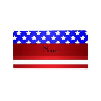 Personalized name patriotic stripes custom address label