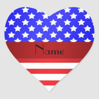 Personalized name patriotic stripes heart sticker