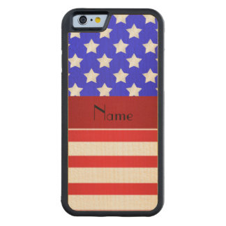 Personalized name patriotic stripes carved® maple iPhone 6 bumper