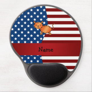 Personalized name Patriotic tiger Gel Mouse Pad