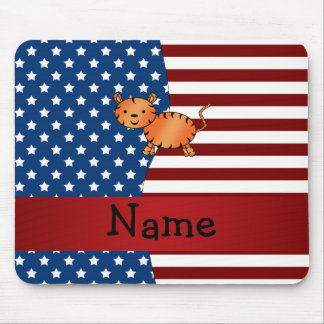 Personalized name Patriotic tiger Mouse Pad