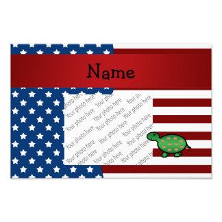 Personalized name Patriotic turtle Photo Print