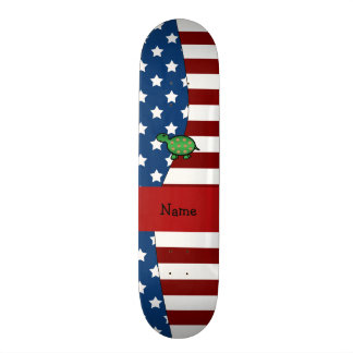 Personalized name Patriotic turtle Skate Decks