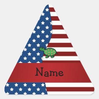 Personalized name Patriotic turtle Triangle Sticker