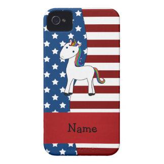 Personalized name Patriotic unicorn iPhone 4 Case